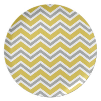 Grey and Yellow Chevron Plate