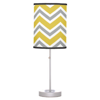 Grey and Yellow Chevron Table Lamp