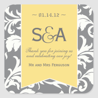Grey and Yellow Damask Favor Stickers