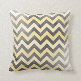 Grey and yellow distressed Chevron pattern pillow