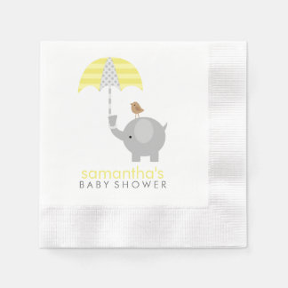 Grey and Yellow Elephant Baby Shower Paper Napkins