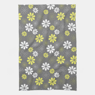 Grey and Yellow Flower Pattern Kitchen Towel