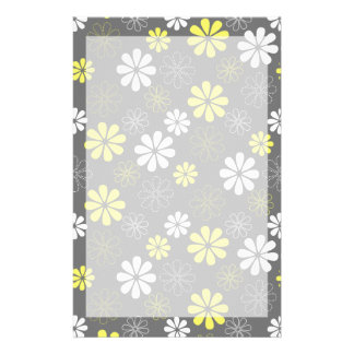 Grey and Yellow Flower Pattern Personalized Stationery