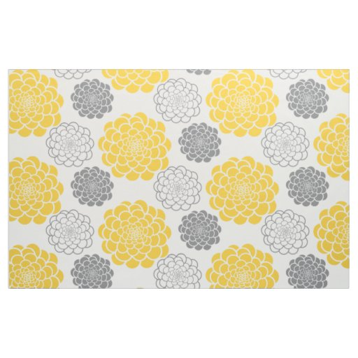 Grey and Yellow Flowers Fabric