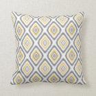 Grey and Yellow Ikat Diamond Pattern Throw Pillow