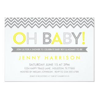"Grey and Yellow Modern Chevron Baby Shower 5"" X 7"" Invitation Card"