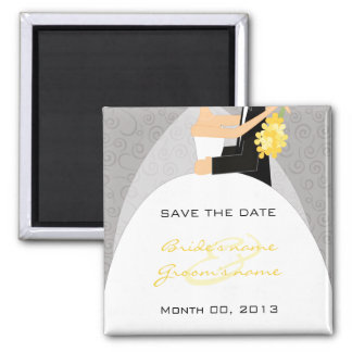 Grey and Yellow Save the Date Magnets