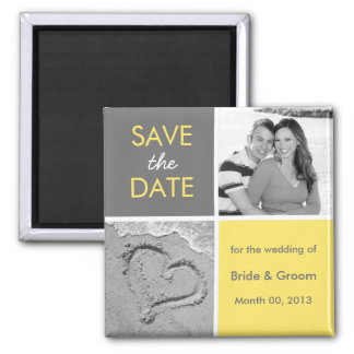 Grey and Yellow Save the Date photo magnets