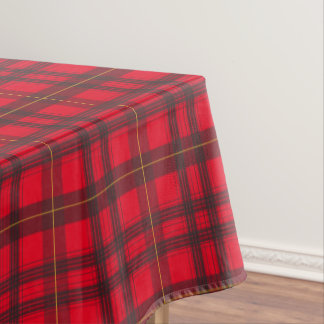 Grey and Yellow Tartan Pattern Custom Tablecloth