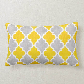 Grey and Yellow Vintage Quatrefoil Pattern Lumbar Pillow