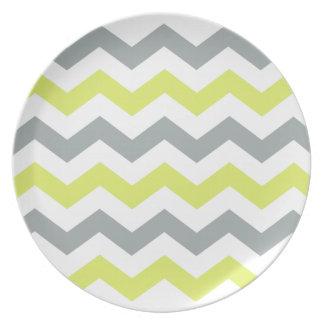 Grey and Yellow Zigzag Pattern Dinner Plates