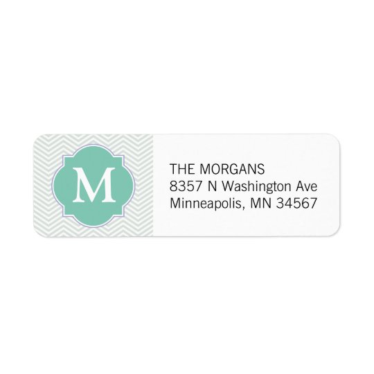 Grey & Aqua Modern Chevron Custom Monogram Return Address Label