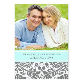 Grey Aqua Photo Wedding Vow Renewal Invitation
