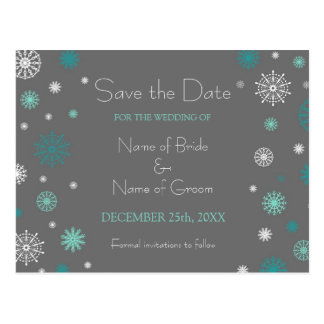 Grey Aqua Save the Date Winter Wedding Postcards