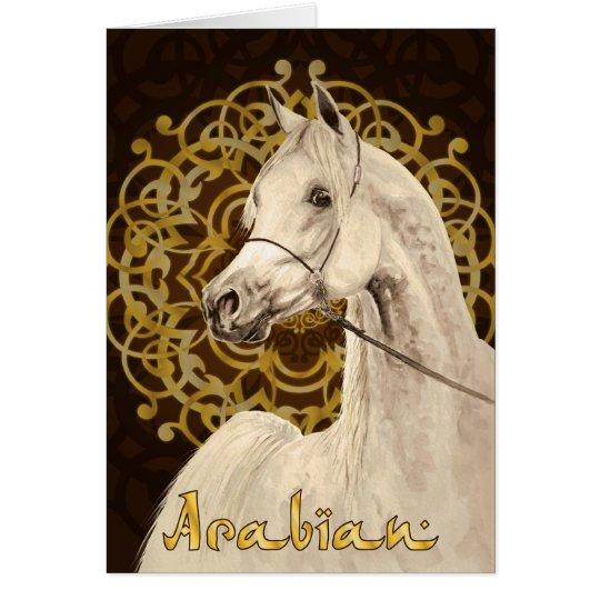 Grey Arabian horse greeting card