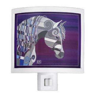 Grey Arabian Horse Head Night Light, Purple Back Night Lights