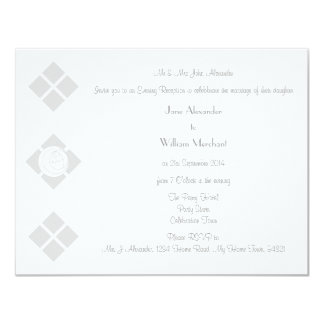 Grey Art Nouveau Rose & Square Evening Wedding Card
