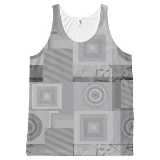 Grey asymmetric pattern All-Over-Print tank top