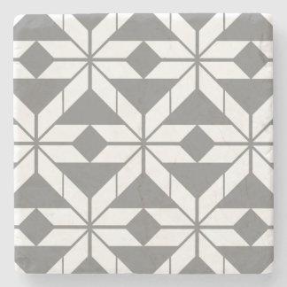 Grey Aztec Geometric Design Marble Stone Coaster