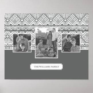 Grey Aztec Pattern | Family Photos & Text Poster