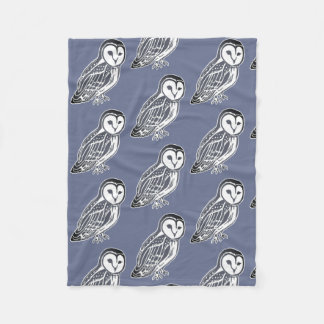 Grey Barn Owls Pattern Midnight Fleece Blanket