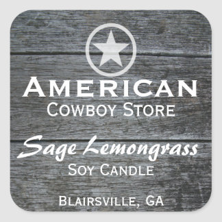 Grey Barnwood White Star Candle Label v2 Square Sticker