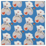 Grey Bear Nurse With Stethoscope Heart and Hat Fabric