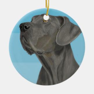 Grey Beautiful Great Dane on Blue Ceramic Ornament
