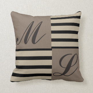 Grey Black and Beige stripes Monogram Throw Pillow