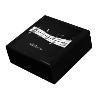 Grey black and white musical notes score gift box