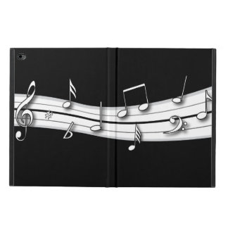 Grey black and white musical notes score