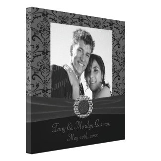 Grey & Black Baroque Jewel Add A Photo Frame Up Stretched Canvas Print