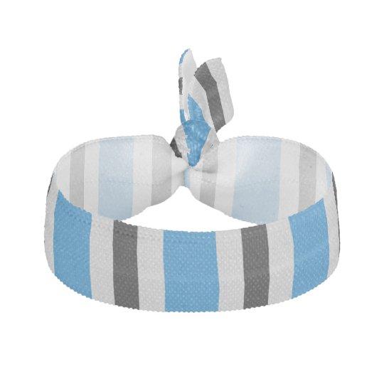 Grey black blue stripes ribbon hair ties