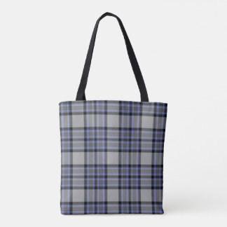 Grey Black Blue Tartan Plaid Tote Bag