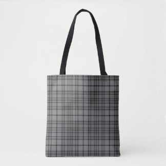 Grey Black Brown Tartan Plaid Tote Bag