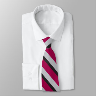 Grey Black & Burgundy University-Striped Tie