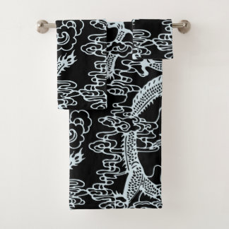 Grey Black Chinese Dragon Pattern Bath Towel Set