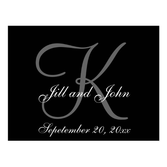 Grey, Black, First Names, Monogram Save the Date Postcard
