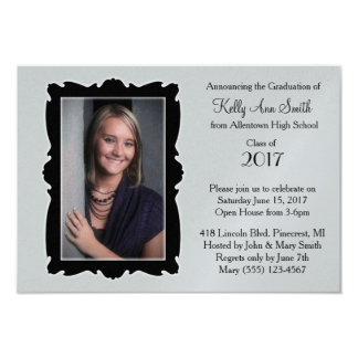 Grey & Black Frame / Graduation Invitation