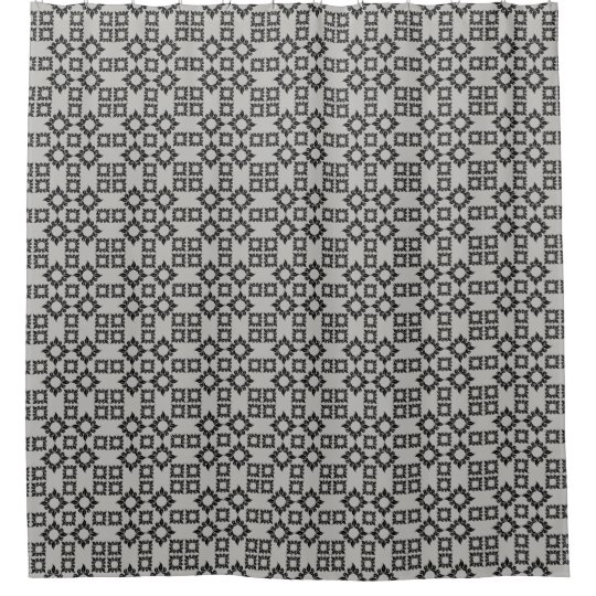 Grey Black Geometric Pattern Shower Curtain Modern