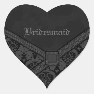 Grey & Black Goth Lace Wedding Heart Sticker