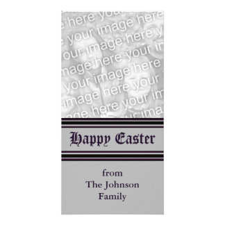 grey black Happy Easter Photo Cards
