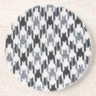 Grey & Black Houndstooth Modern Fabric Texture Coaster