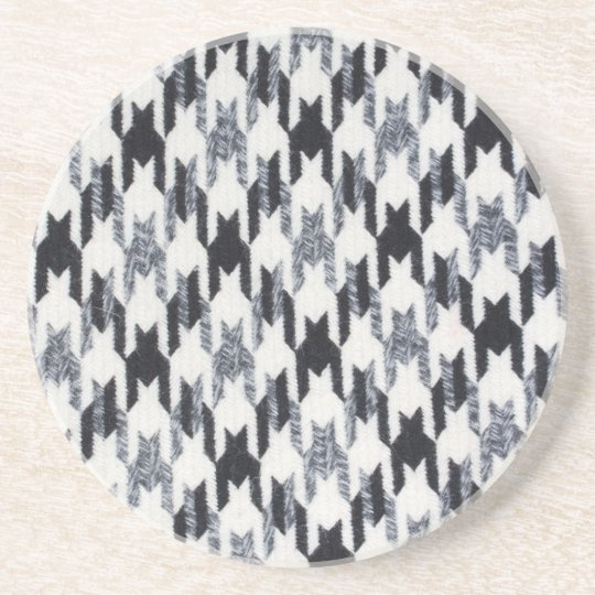 Grey & Black Houndstooth Modern Fabric Texture Coaster