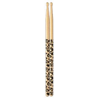 Grey Black Leopard Animal Print Pattern Drum Sticks