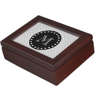 Grey & Black Modern Chevron Custom Monogram Keepsake Box