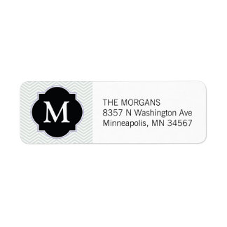 Grey & Black Modern Chevron Custom Monogram Return Address Label