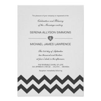 Grey & Black Modern Chevron Wedding Invitations