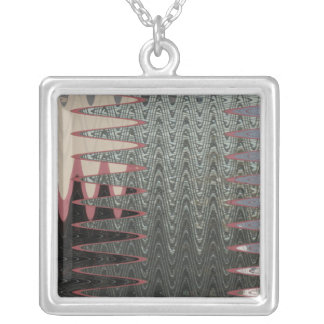 grey black pink abstract square pendant necklace