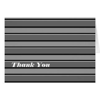Grey Black Stripes Custom Thank You Card